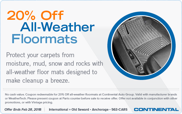 Twenty-percent off all-weather floor mats