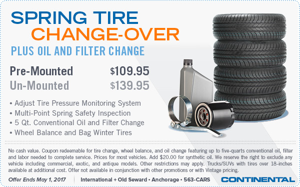2017 Spring Tire Changeover & Oil Change Special