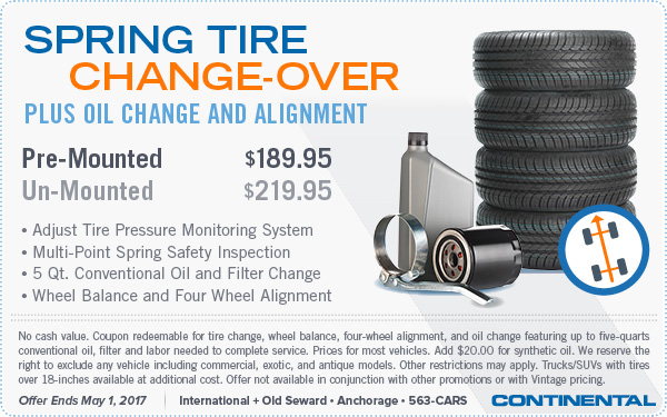 2017 Spring Tire Changeover, Oil Change, and Alignment Special