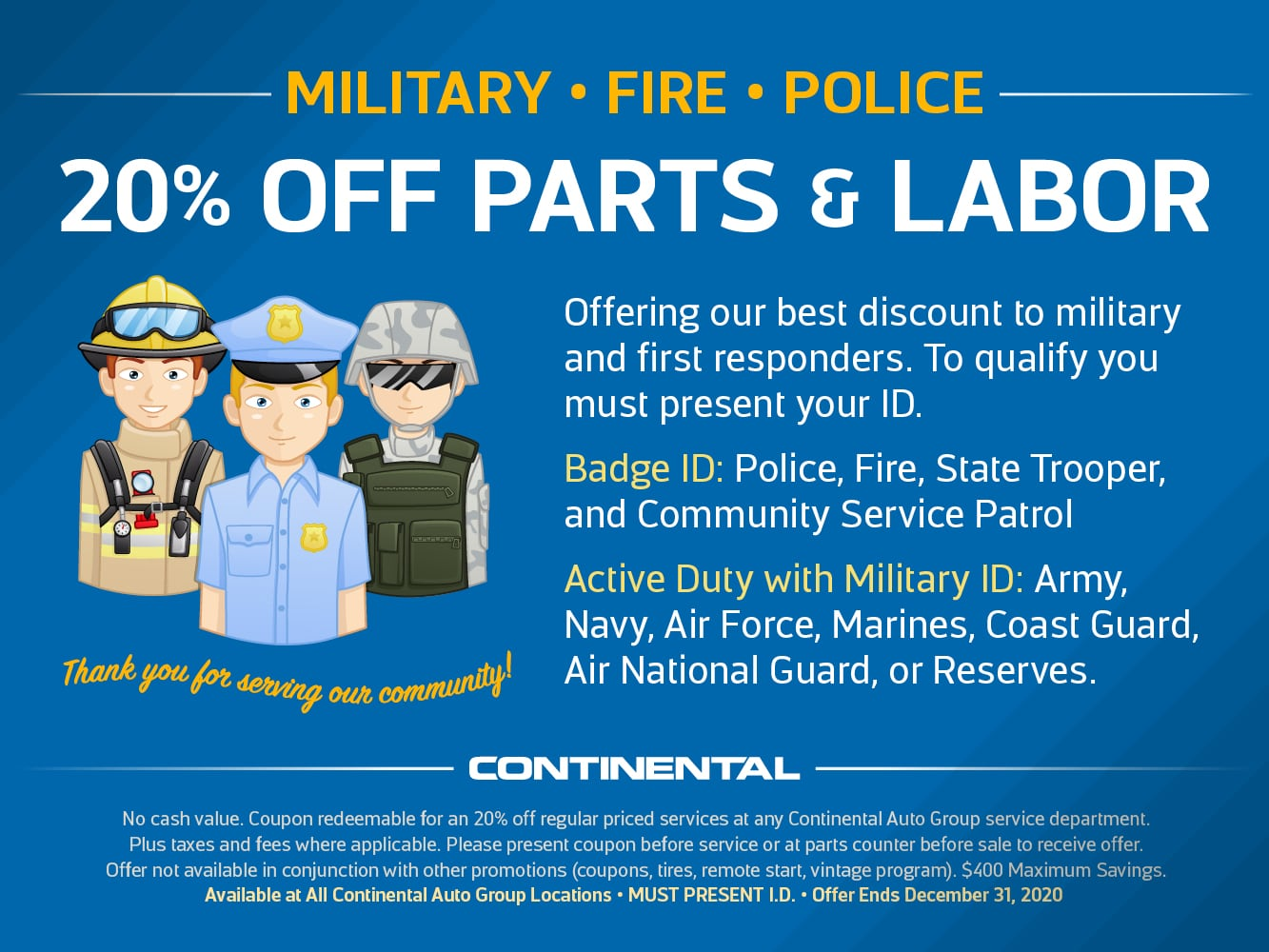 Military Police and Fire Dept Discount