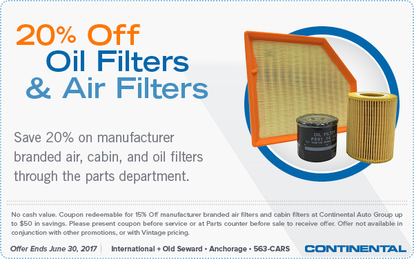 20 Percent Off Oil Filters & Air Filters