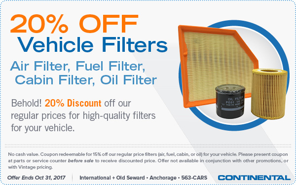 Fall 2017 - Take 20% OFF Vehicle Filters