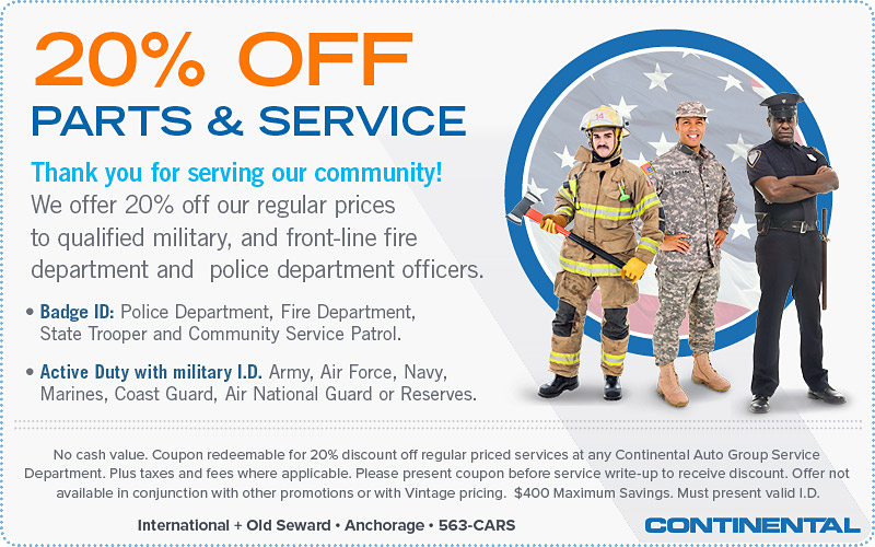 First Responders | 20 Percent Off Parts and Service