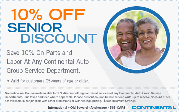 Senior Discount - 10 Percent Off Parts & Labor